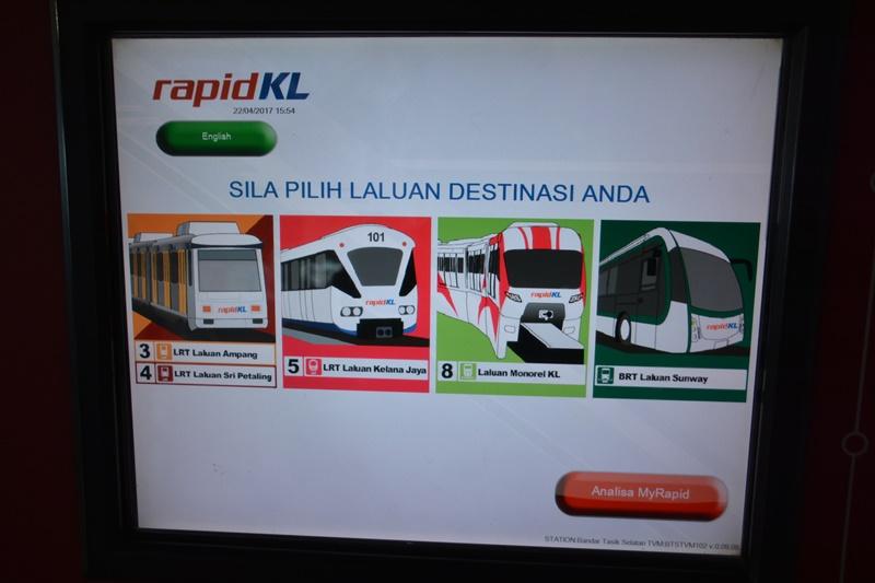 rapidKLの切符券売機画面